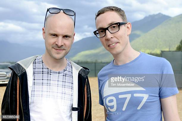 Jono Grant and Paavo Siljamäki of Above Beyond pose at the Pemberton Music and Arts Festival on July 18 2014 in Pemberton British Columbia