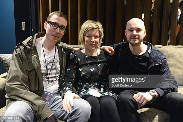 DJ Jono Grant vocalist Zoe Johnston and DJ Paavo Siljamaki of Above Beyond pose backstage at The Forum on February 6 2015 in Inglewood California
