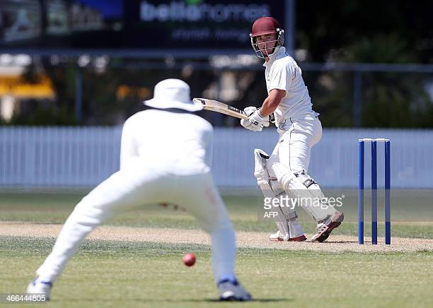 Jono Hickey from New Zealand XI bats during day one of the two day international cricket warm up match between the New Zealand XI and India at Cobham...