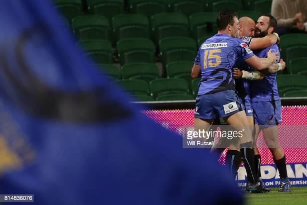 Jono Lance of the Force celebrates after scoring a try during the round 17 Super Rugby match between the Force and the Waratahs at nib Stadium on...