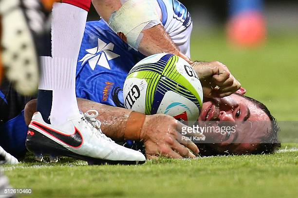 Jono Lance of the Force crosses for a try during the round one Super Rugby match between the Force and the Rebels at nib Stadium on February 27 2016...