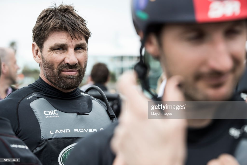 Jono McBeth looks on as he prepares the race yacht prior to the launch of the teams new Land Rover BAR R1 race yacht 'RITA' on February 6, 2017 in Hamilton, Bermuda.