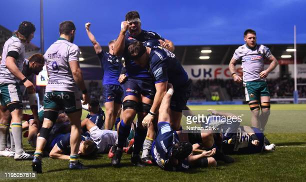 Jono Ross of Sale Sharks celebrates after they score a try during the Gallagher Premiership Rugby match between Sale Sharks and Northampton Saints at...