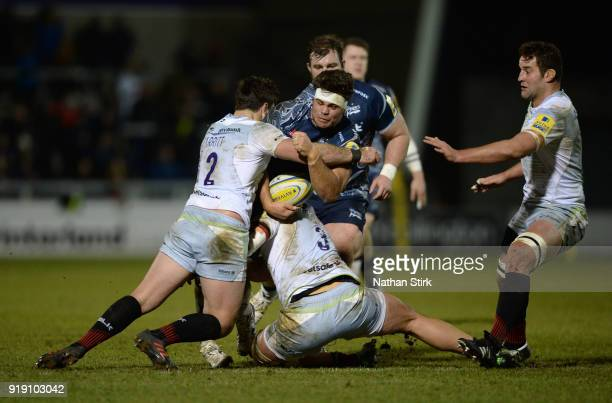 Jono Ross of Sale Sharks in action during the Aviva Premiership match between Sale Sharks and Saracens at AJ Bell Stadium on February 16 2018 in...