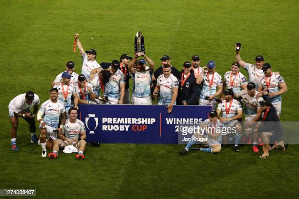 Jono Ross of Sale Sharks lifts the Premiership Cup trophy with his teammates after victory in the Premiership Rugby Cup Final between Sale Sharks and...