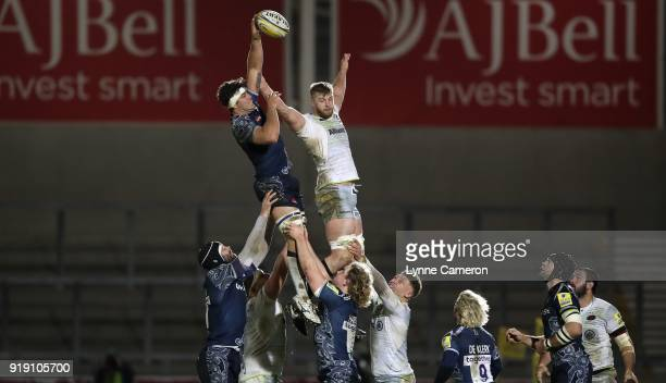 Jono Ross of Sale Sharks wins a line out from George Kruis of Saracens during the Aviva Premiership match between Sale Sharks and Saracens at AJ Bell...