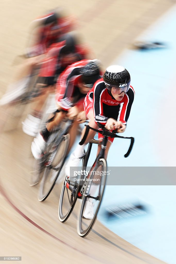 Jono Stewart of Canterbury out front of the U17 Boys 3000m Team Pursuit final during the New Zealand Age Group Track National Championships on March 13, 2016 in Invercargill, New Zealand.