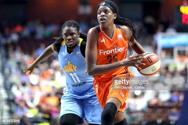 Jonquel Jones of the Connecticut Sun defended by Amber Harris of the Chicago Sky during the Connecticut Sun Vs Chicago Sky WNBA regular season game...