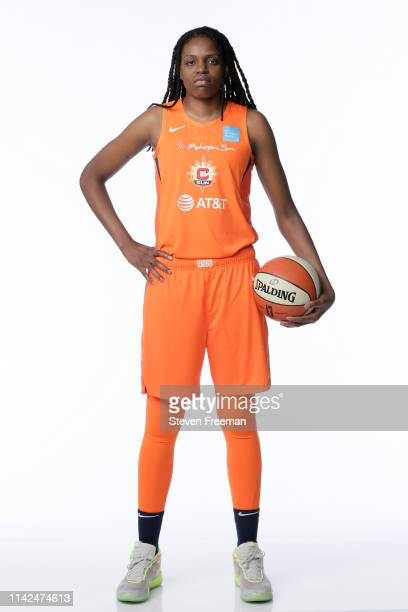 Jonquel Jones of the Connecticut Sun poses for portraits at Media Day at the Mohegan Sun Arena on MAY 8 2019 in UNCASVILLE Connecticut NOTE TO USER...