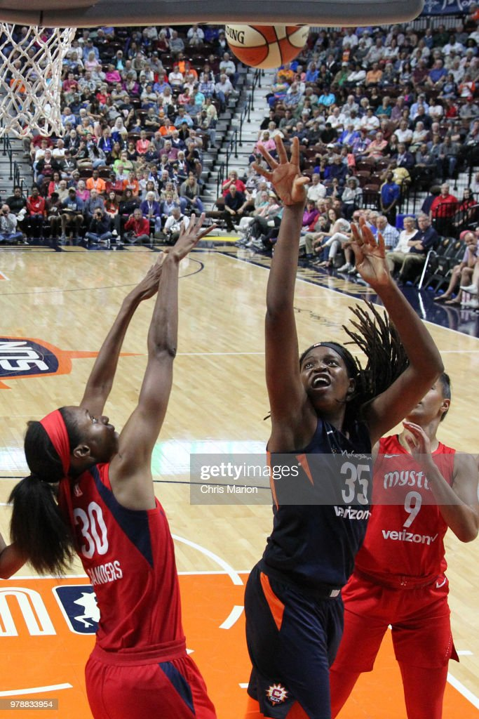 Jonquel Jones #35 of the Connecticut Sun shoots the ball against the Washington Mystics during a WNBA game on June 13, 2018 at the Mohegan Sun Arena in Uncasville, Connecticut.