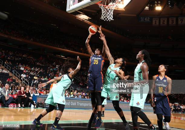 Jonquel Jones of the Connecticut Sun shoots the ball against the New York Liberty on July 19 2017 at Madison Square Garden in New York New York NOTE...