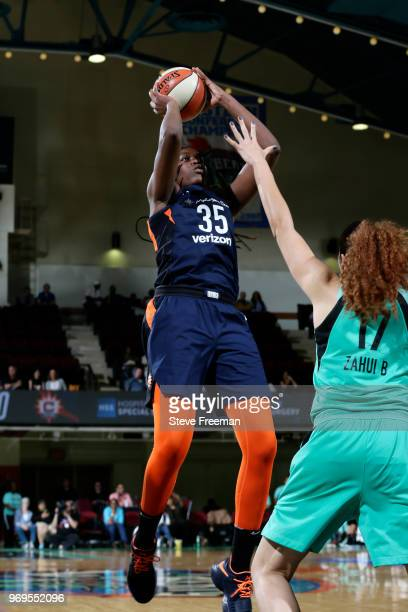 Jonquel Jones of the Connecticut Sun shoots the ball against the New York Liberty on June 7 2018 at Westchester County Center in White Plains New...