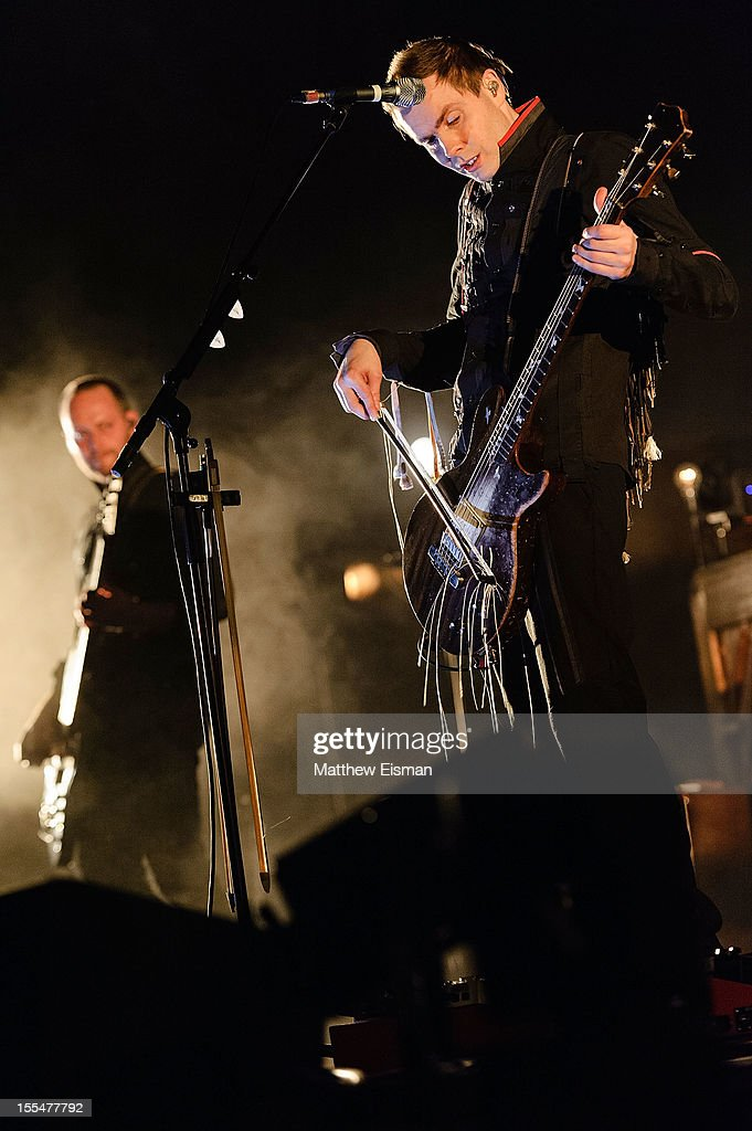 Jonsi Birgisson (R) and Georg Holm of the Icelandic rock band Sigur Ros perform on stage during day 5 of Iceland Airwaves Music Festival at Laugardagshollin on November 4, 2012 in Reykjavik, Iceland.