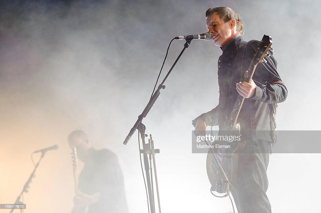 Jonsi Birgisson of the Icelandic rock band Sigur Ros performs on stage during day 5 of Iceland Airwaves Music Festival at Laugardagshollin on November 4, 2012 in Reykjavik, Iceland.