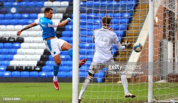 Jonson Clarke Harris of Peterborough scores his teams fifth goal during the Sky Bet League One match between Peterborough United and Accrington...