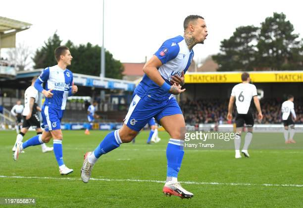 Jonson Clarke-Harris of Bristol Rovers celebrates after scoring his team's first goal during the FA Cup Third Round match between Bristol Rovers and...