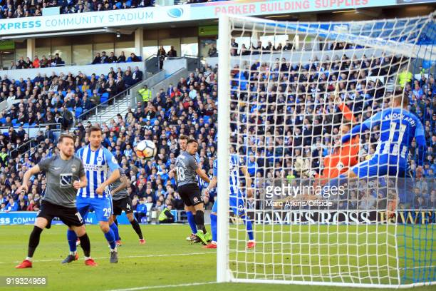 Jonson ClarkeHarris of Coventry City sees his headed effort saved by Tim Krul of Brighton and Hove Albion during the FA Cup Fifth Round match between...