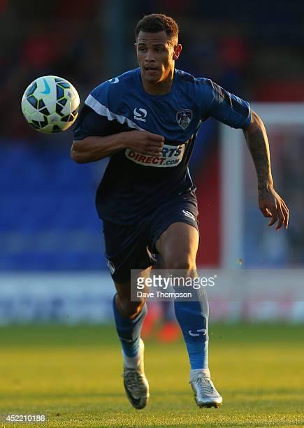 Jonson ClarkeHarris of Oldham Athletic during the pre season friendly at SportsDirectcom Park on July 15 2014 in Oldham England