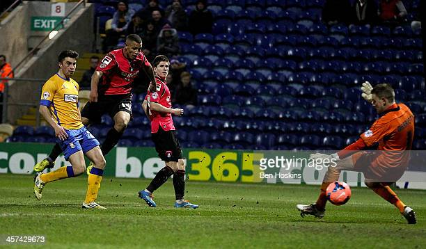 Jonson ClarkeHarris of Oldham scores his team's second goal of the game during the FA Cup Second Round Replay match between Mansfield Town and Oldham...