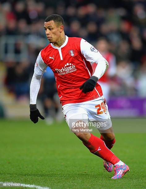 Jonson ClarkeHarris of Rotherham United during the FA Cup Third Round match between Rotherham United and Bournemouth at The New York Stadium on...