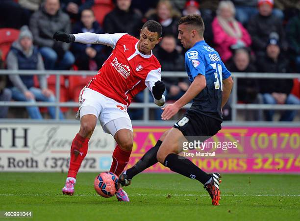 Jonson ClarkeHarris of Rotherham United is tackled by Baily Cargill of Bournemouth during the FA Cup Third Round match between Rotherham United and...