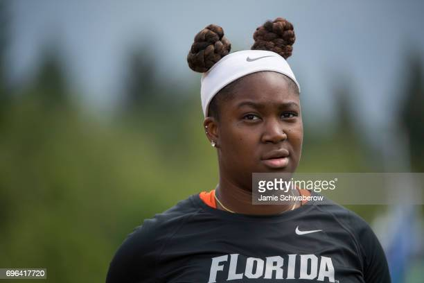 Jontavia Dykes of the University of Florida prepares to compete in the discus during the Division I Women's Outdoor Track Field Championship held at...