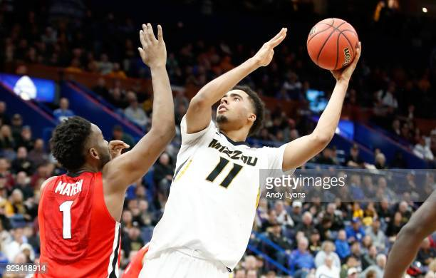 Jontay Porter of the Missouri Tigers shoots the ball against the Georgia Bulldogs during the second round of the 2018 SEC Basketball Tournament at...