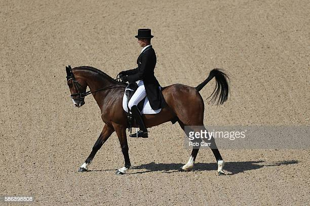 Jonty Evans of Ireland riding Cooley Rorkes Drift competes in the Eventing Team Dressage event during equestrian on Day 2 of the Rio 2016 Olympic...