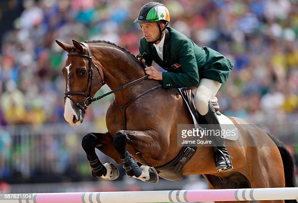 Jonty Evans of Ireland riding Cooley Rorkes Drift during the eventing team jumping final and individual qualifier on Day 4 of the Rio 2016 Olympic...