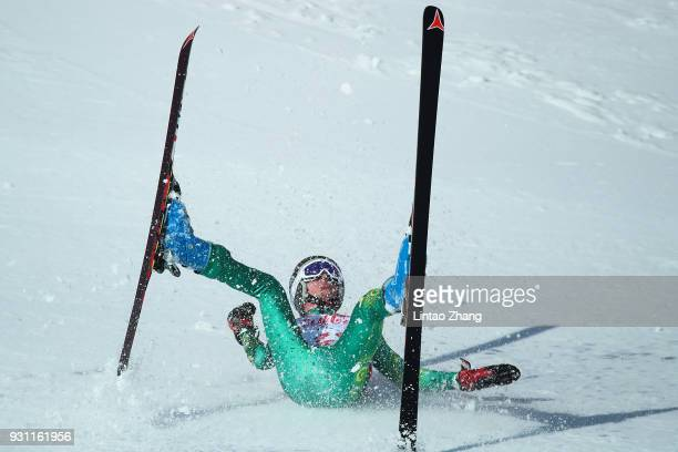 Jonty O'callaghan of Australia is fall down during in the Alpine Skiing Men's SuperG Standing at the Jeongseon Alpine Centre during day four of the...