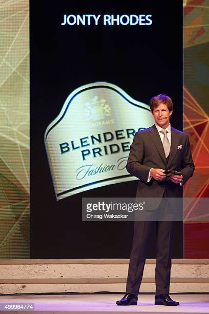 Jonty Rhodes on the runway during day 1 of Blenders Pride Fashion tour 2015 held at the Grand Hyatt on December 4 2015 in Mumbai India