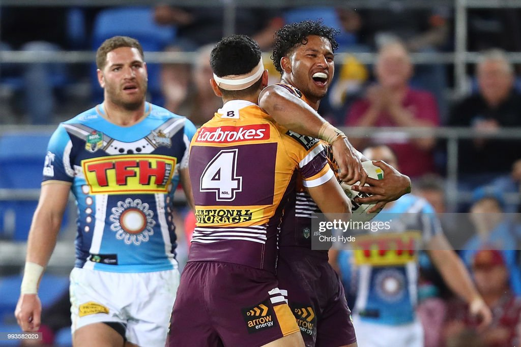 Jonus Pearson of the Broncos celebrates a try during the round 17 NRL match between the Gold Coast Titans and the Brisbane Broncos at Cbus Super Stadium on July 8, 2018 in Gold Coast, Australia.