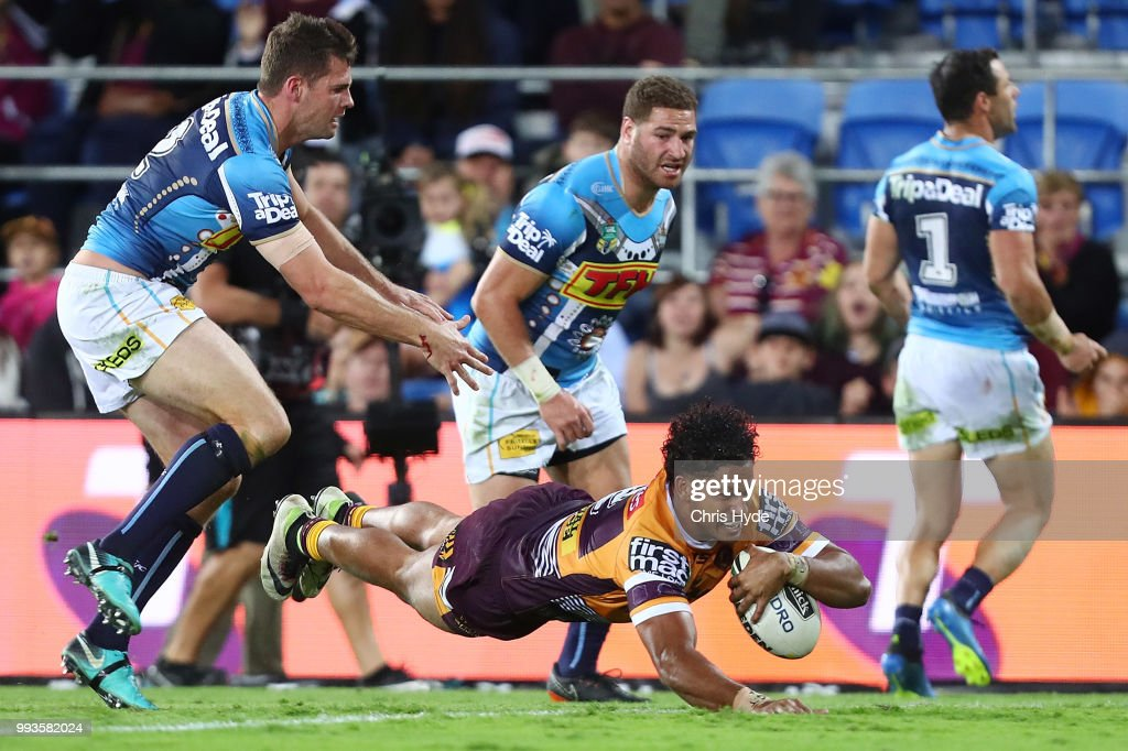 Jonus Pearson of the Broncos scores a try during the round 17 NRL match between the Gold Coast Titans and the Brisbane Broncos at Cbus Super Stadium on July 8, 2018 in Gold Coast, Australia.