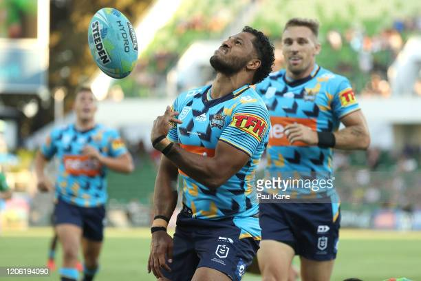 Jonus Pearson of the Titans celebrates after crossing for a try during Day 1 of the 2020 NRL Nines match between The Titans and the Raiders at HBF...