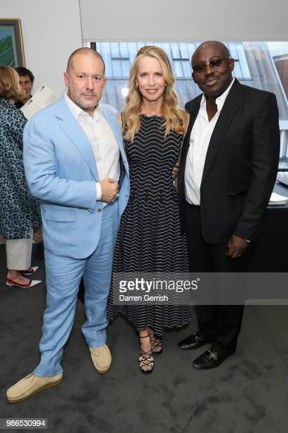 Jony Ive Laurene Powell and Edward Enninful attend the Chancellor's Circle Reception and Dinner at Royal College of Art on June 28 2018 in London...