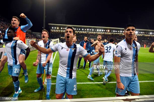 Jony Rodriguez of SS Lazio celebrates after winning the Serie A match between Cagliari Calcio and SS Lazio at Sardegna Arena on December 15 2019 in...
