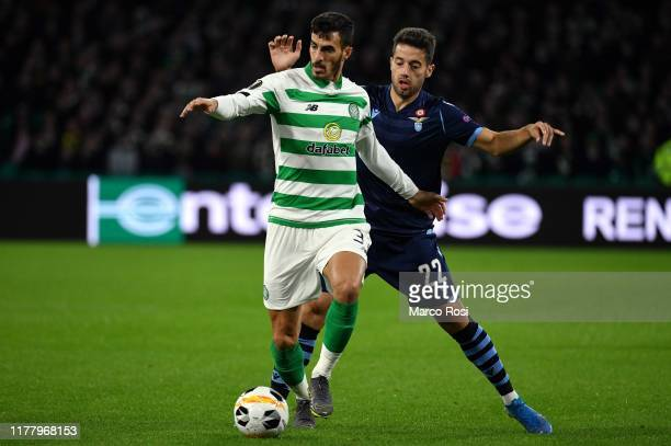 Jony Rodriguez of SS Lazio compete for the ball with Hatem Elhamed of Celtic FC during the UEFA Europa League group E match between Celtic FC and...