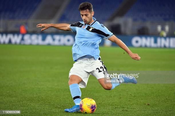 Jony Rodriguez of SS Lazio kicks the ball during the Coppa Italia match between SS Lazio and US Cremonese at Olimpico Stadium on January 14 2020 in...
