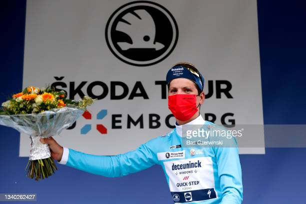 João Almeida of Portugal and Team Deceuninck - Quick-Step celebrates winning the blue points jersey on the podium ceremony after the 81st Skoda-Tour...