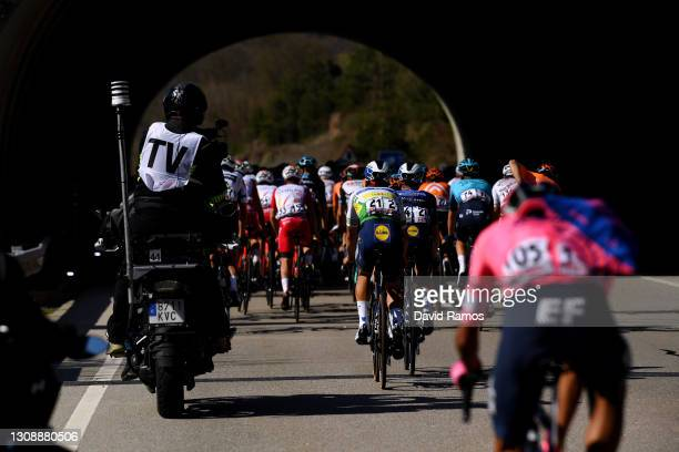 João Almeida of Portugal and Team Deceuninck - Quick-Step Green Leader Jersey & the peloton during the 100th Volta Ciclista a Catalunya 2021, Stage 3...