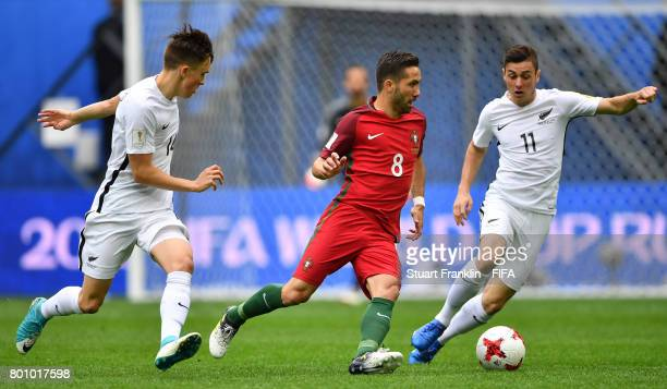 Joo Moutinho of Portugal is challenged by Marcos Rojas of New Zealand during the FIFA Confederation Cup Group A match between New Zealand and...