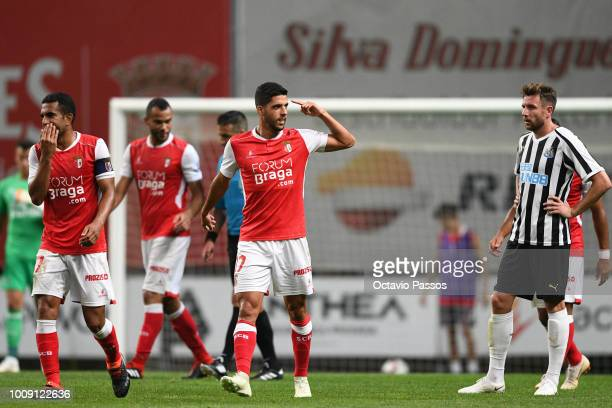 João Novais of SC Braga celebrates after scores the second goal during the Preseason friendly between SC Braga and Newcastle on August 1 2018 in...