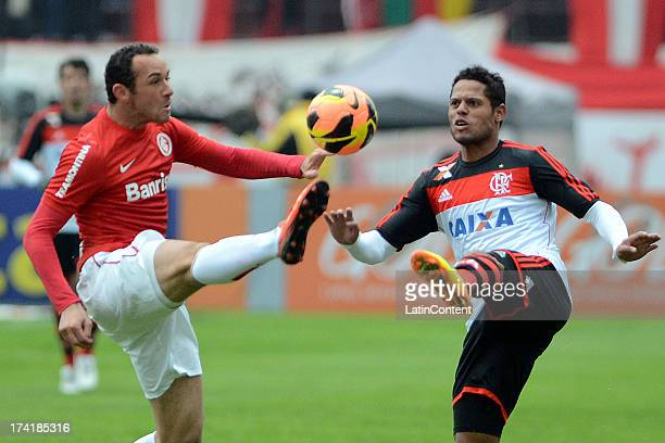 João Paulo of Flamengo fights for the ball with Josimar of Internacional during a match between Flamengo and Internacional as part of the Brazilian...