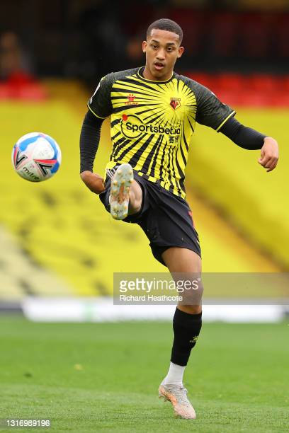João Pedro of Watford in action during the Sky Bet Championship match between Watford and Swansea City at Vicarage Road on May 08, 2021 in Watford,...