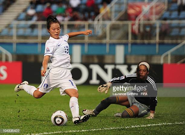 Joo Soojin of South Korea scores the second goal during the FIFA U17 Women's World Cup Semi Final match between South Korea and Spain at the Ato...