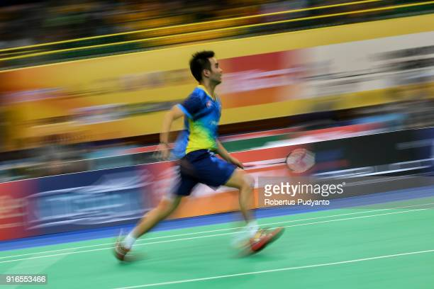 Joo Ven Soong of Malaysia competes against Qiao Bin of China during Men's Team Semifinal match between China and Malaysia in the EPlus Badminton Asia...