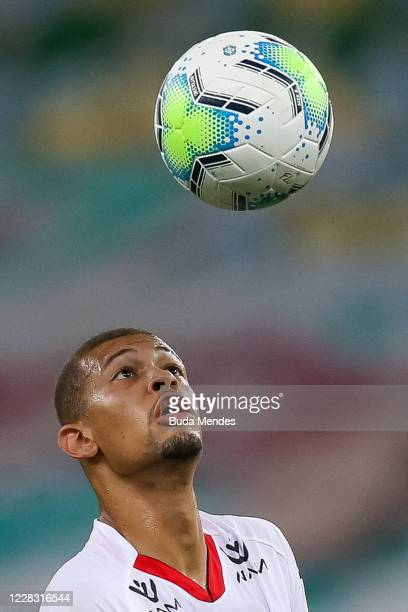 João Victor of Atletico GO looks at the ball during a match between Fluminense and Atletico GO as part of 2020 Brasileirao Series A at Maracana...
