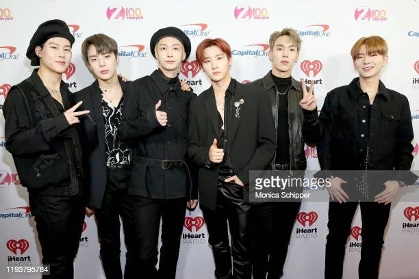 Jooheon Minhyuk Hyungwon IM Shownu and Kihyun of Monsta X arrive at iHeartRadio's Z100 Jingle Ball 2019 at Madison Square Garden on December 13 2019...