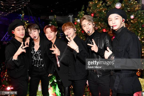 Jooheon, Minhyuk, I.M, Kihyun, Shownu, and Hyungwon of Monsta X pose backstage at iHeartRadio's Z100 Jingle Ball 2019 Presented By Capital One on...