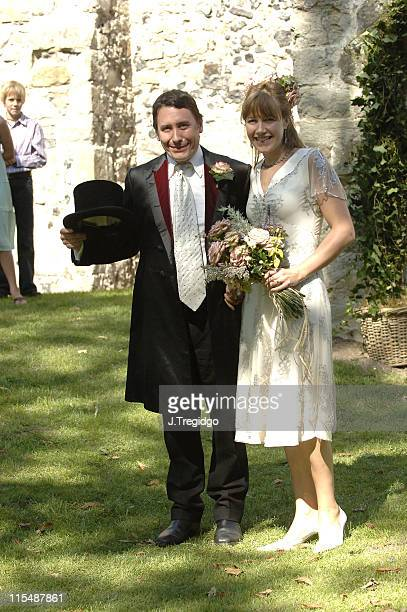 Jools Holland and Christabel McEwen during Jools Holland and Christabel McEwan's Wedding at St James's Church in Cooling Kent Great Britain